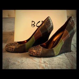 BCBG Paris Patchwork-Style Wedges
